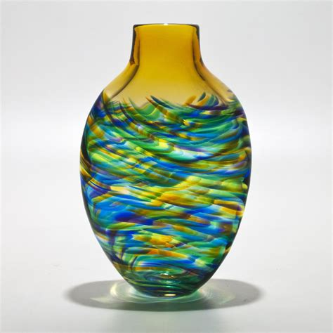 Glass Vase by Vortex Flat With Topaz By Michael Trimpol And