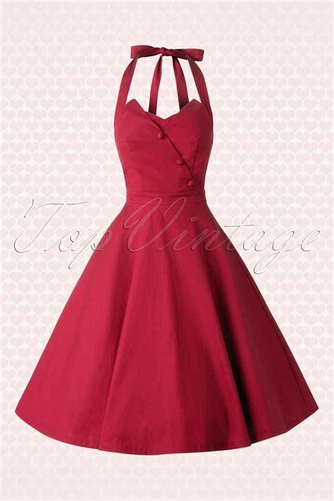 halter swing dress 50s myrtle halter swing dress in red