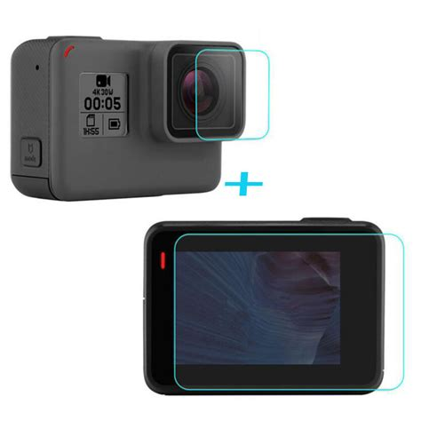 Tempered Glass Screen Protection For Gopro 5 Diskon tempered glass protector cover for gopro go pro hero5 hero6 5 6 black front