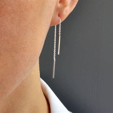 Chain Earring silver trace pull through chain earrings by martha jackson