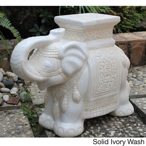 International Caravan Large Porcelain Elephant Stool by International Caravan Large Porcelain Elephant Stool By