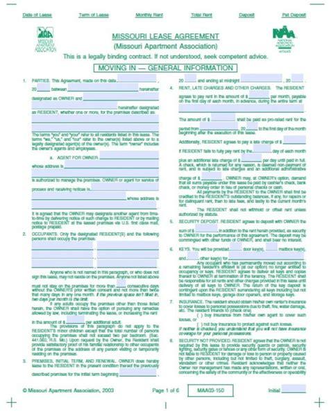 Free Missouri Residential Lease Agreement Pdf Word Doc Missouri Lease Agreement Template