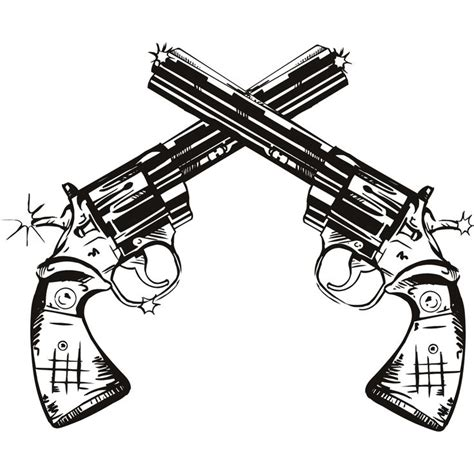 gun twin pistols wall art stickers wall decal transfers