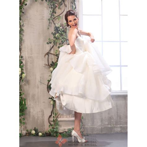 Billie Lines billie a line sweetheart ankle length organza wedding dress