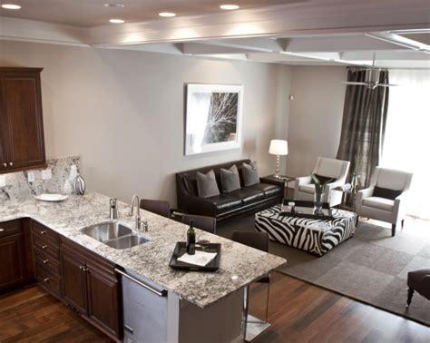 White Kitchen Living Room Combo Victory White Granite Contemporary Kitchen Sherwin
