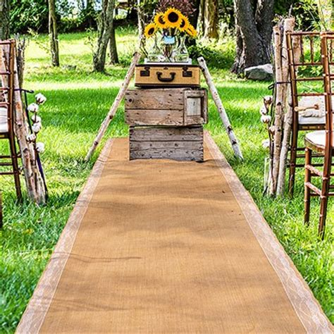 Wedding Aisle Lace Runner by Burlap Aisle Runner With Delicate Lace Borders The Knot Shop