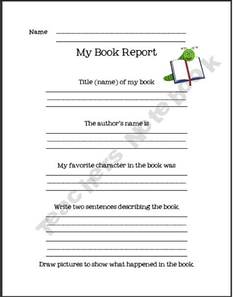 book report template 1st grade 16 best blackline masters etc images on book