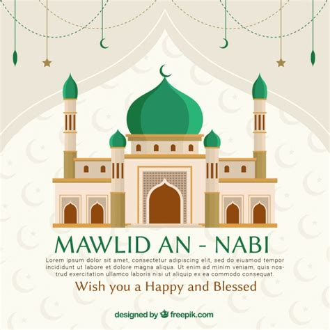 design masjid vector free download mawlid an nabi background with mosque vector premium
