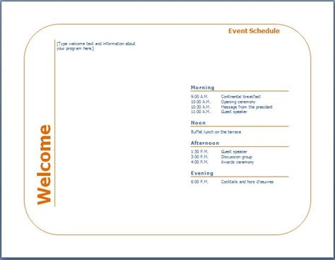 schedule of events template word event schedule template new calendar template site