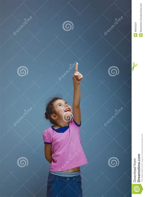 What Will Show Up On A Fingerprint Background Check Child Shows Finger Up On A Gray Background Stock