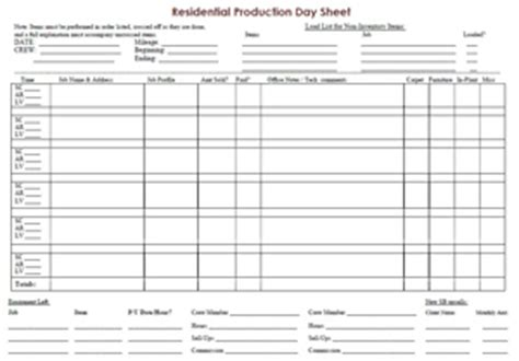 """how to create a """"production day sheet"""" 
