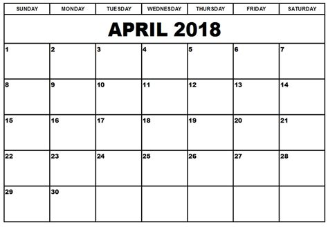april 2018 calendar printable page april 2018 printable calendar 8 free blank templates