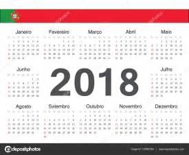 Calendario 2018 Em Portugues Calend 225 De C 237 Rculo Portugu 234 S De Vetor 2018 Vetores De
