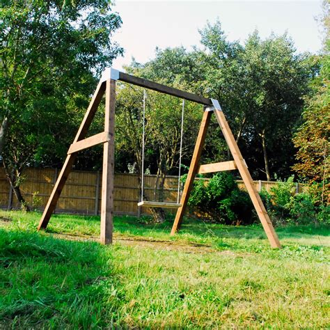 diy garden swing set brackets wooden frame outdoor kids