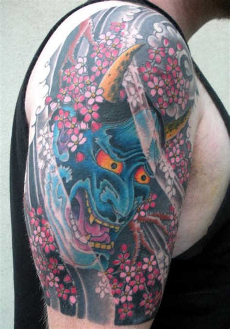blue asian hannya mask tattoo on arm tattooshunt com
