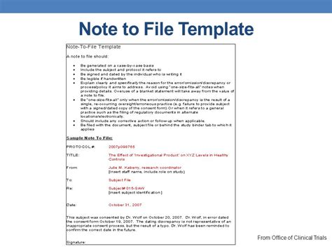 file note template orientation for new clinical research personnel module 2