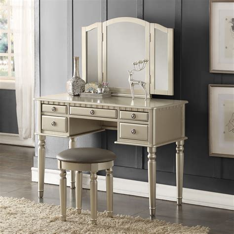 makeup vanity table with mirror tri folding mirror vanity set makeup table dresser w bench 5 drawer silver wood ebay