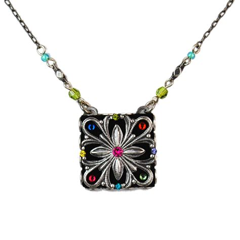 multi color flower square necklace 8520 firefly jewelry