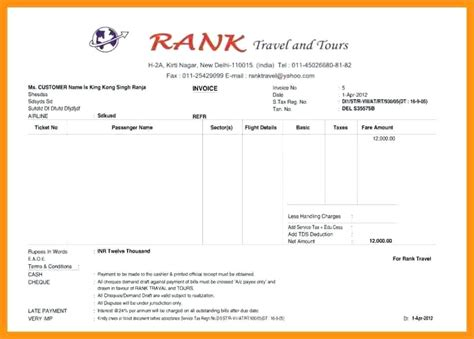 travel receipt format 9 tours and travels bill format in