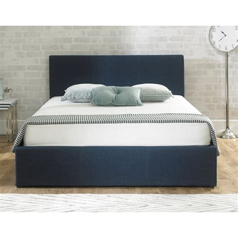 ottoman storage beds double designer blue fabric 4ft6 double stirling ottoman storage bed