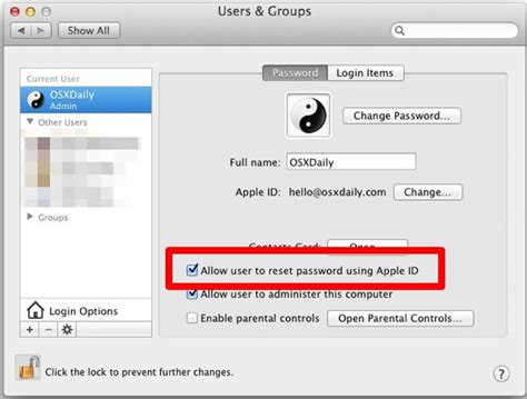 apple reset password how to assign an apple id to a mac user account in os x