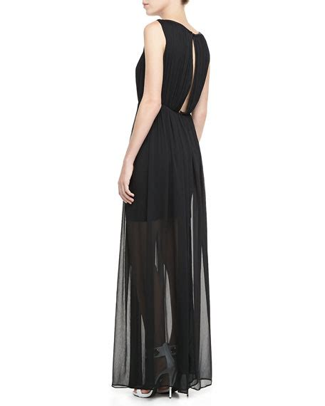 jaydn sheer skirt maxi dress