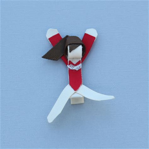 ribbon for hair that says gymnastics brown haired gymnast hair clip for your little star
