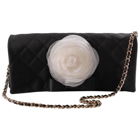 Chanel 2006 Chanel Satin Camellia Evening Purse by Chanel Satin Camellia Clutch Bag Black White Silver For