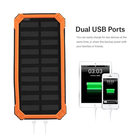 Power Bank Solar Cell 20000mah dual usb fast charge power bank 20000mah solar battery charger flashlight ebay