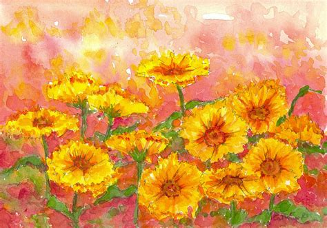 marigold paint october marigolds painting by cathie richardson