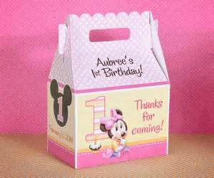 Baby Minnie Mouse 1st Birthday Favors by Baby Minnie Mouse 1st Birthday Personalized Gable Box