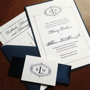 wedding invitation belly bands navy blue and white wedding invitation with satin ribbon