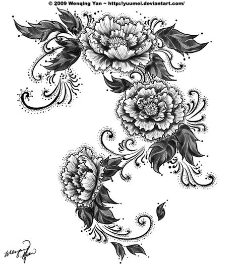 black and white flower tattoos curly black and white