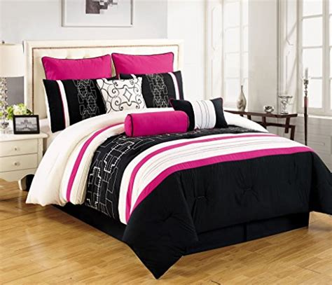 9 piece queen myra black and pink comforter set jkaoae p