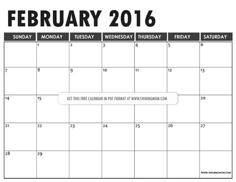 printable feb 2016 calendar that you can type in