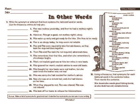 free printable worksheets using thesaurus free printable quot using a thesaurus quot worksheet language