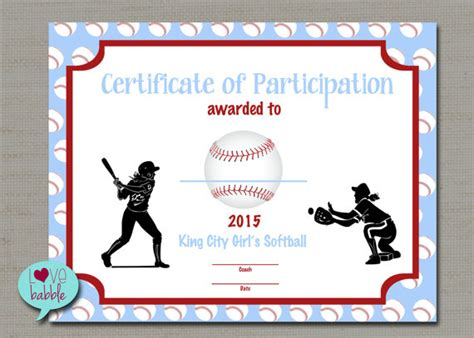 softball award certificate template professional sles