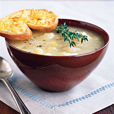 golden potato leek soup with cheddar toasts comforting