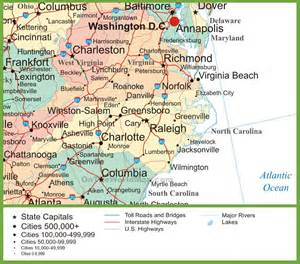 map of virginia and carolina with cities map of virginia and carolina