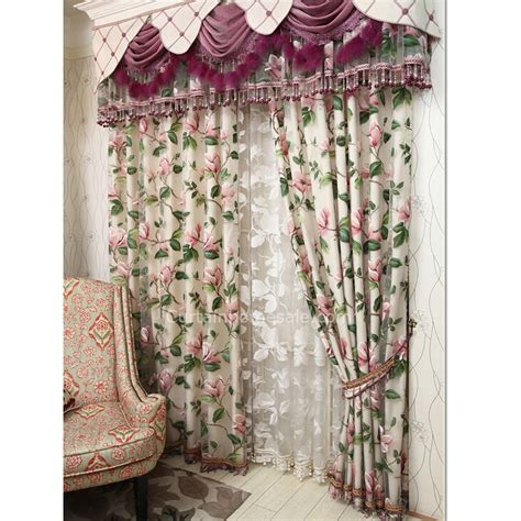 shabby chic bedroom curtains beige chenille and pink flower pattern shabby chic
