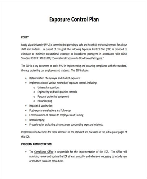 exposure plan template 9 plan exles sles