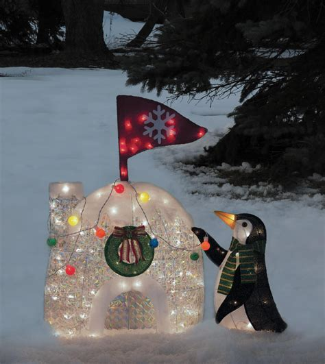penguin and igloo tinsel light display 216 1411 0 free