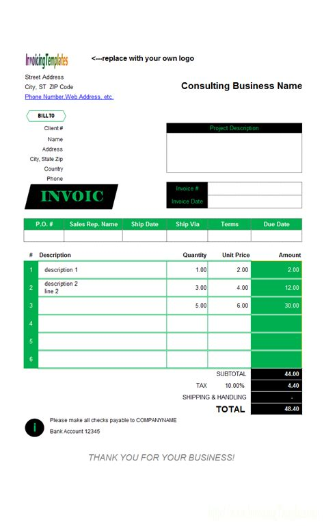 Recruitment Agency Invoice Template Simple Consulting Template