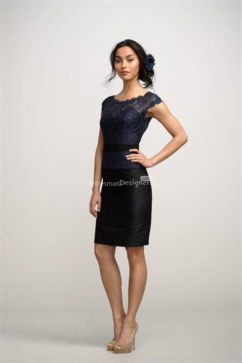 navy blue lace bodice black skirt mini bridesmaid