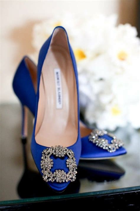 Carrie Bradshaw Hochzeit Schuhe by Blue Manolo Blahnik Satin Evening Pumps Manolos Mode