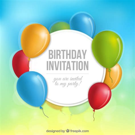 Birthday invitation with balloons vector free download