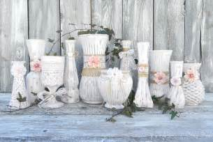 burlap and lace pink shabby chic vase collection by