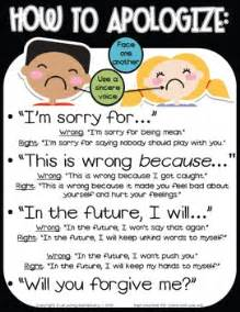 Apology Letter To Kindergarten How To Apologize And Say Sorry Poster Responsive Classroom Character Education Classroom