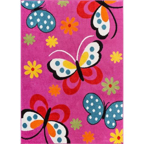 childrens butterfly rug well woven starbright butterflies pink 5 ft x 7 ft area rug 09305 the home depot
