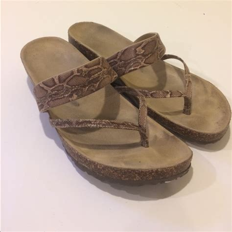 cork bed sandals cork bed sandals tan and brown snakeskin 9 from lyn